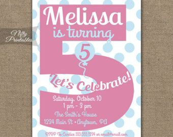 Free FREE Template 5 Year Old Birthday Invitation Wording