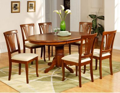 Superbe 7 PC Avon Oval Dinette Kitchen Dining Room Table With 6 Chairs In Saddle  Brown |