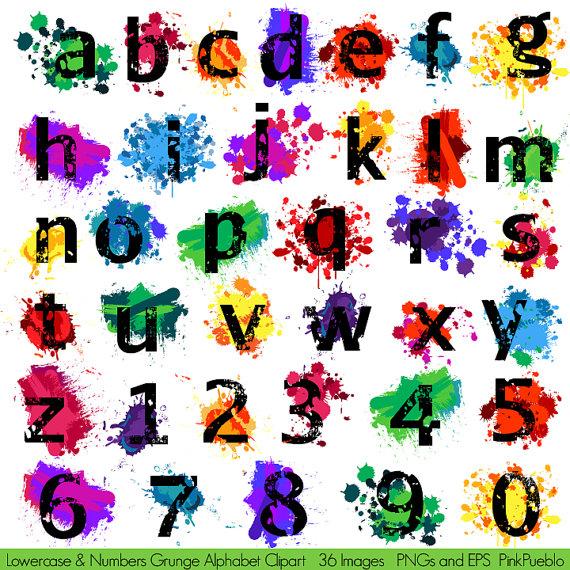 Grunge Alphabet Clipart Clip Art Graffiti Paint By Pinkpueblo