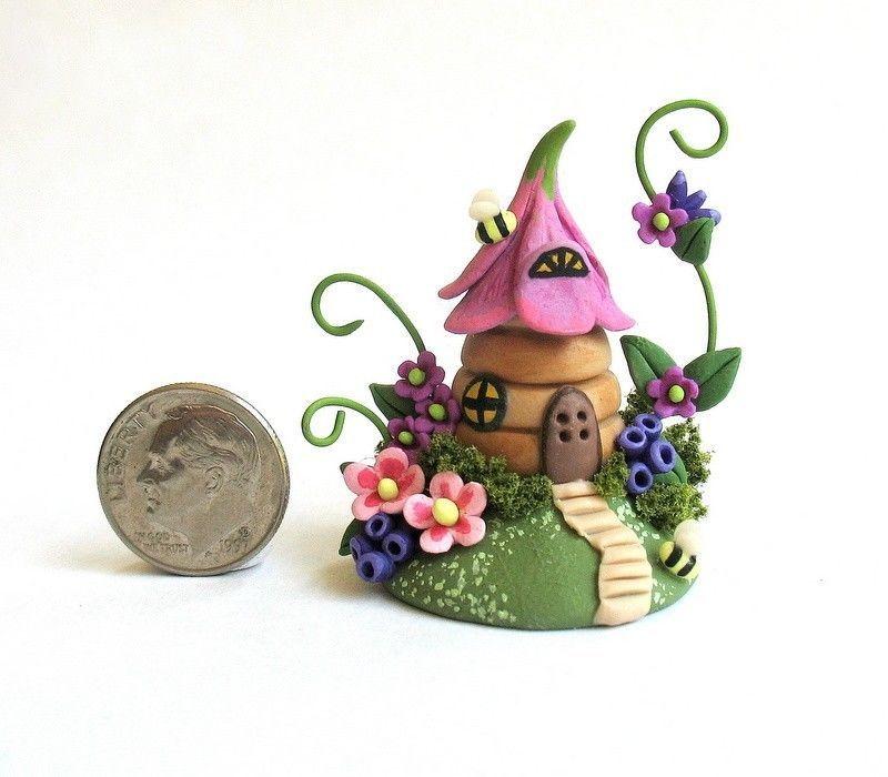 Handmade Miniature Bee Hive Blossoms Fairy House OOAK Art by C Rohal