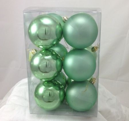 mint green christmas baubles uk | Pkt 12 80mm Christmas Tree Decoration Bauble Pack in Mint
