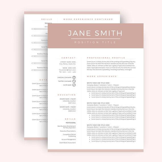 Resume Template / CV Template for Word, Cover Letter, Two Page ...