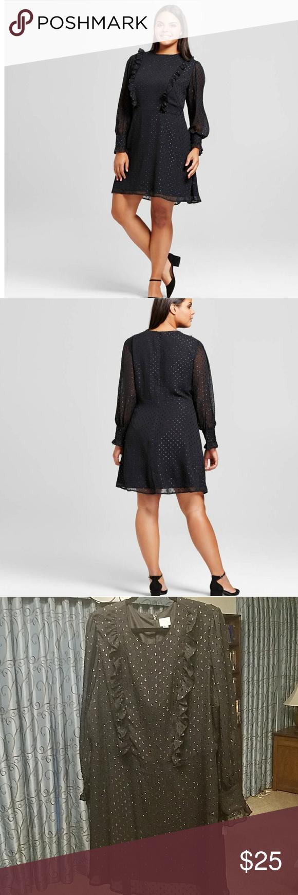 Cco Bottom Price Host Pick A N D Ruffle Dress Black Chiffon Dress Ruffle Dress Long Sleeve Ruffle Dress [ 1740 x 580 Pixel ]