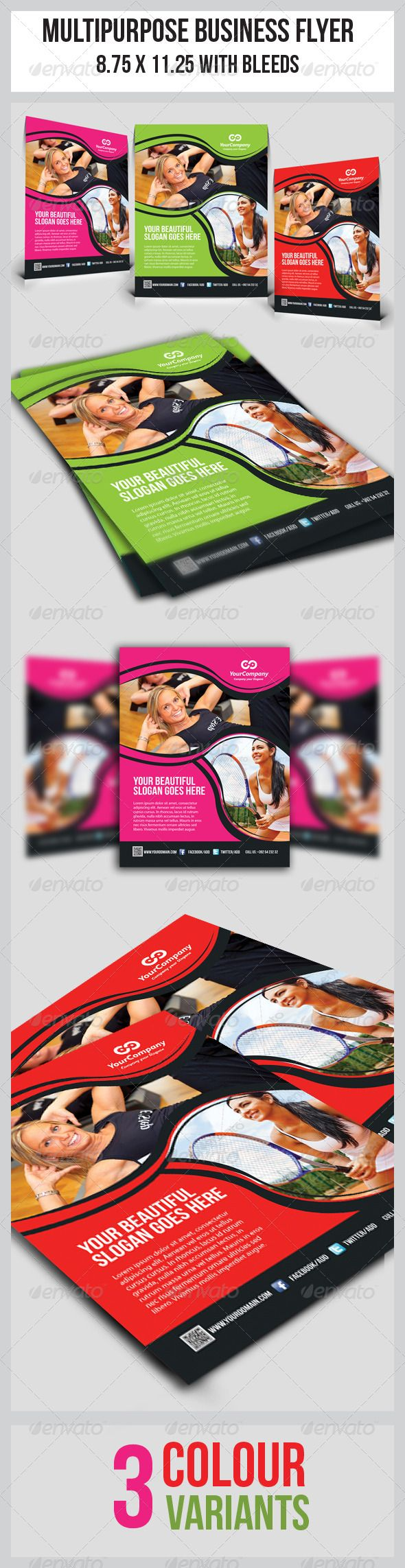 Fitness Flyer Vol.2 | Flyer template, Print templates and Flyer printing