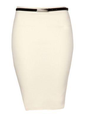 Jane Norman Belted pencil skirt Cream - House of Fraser