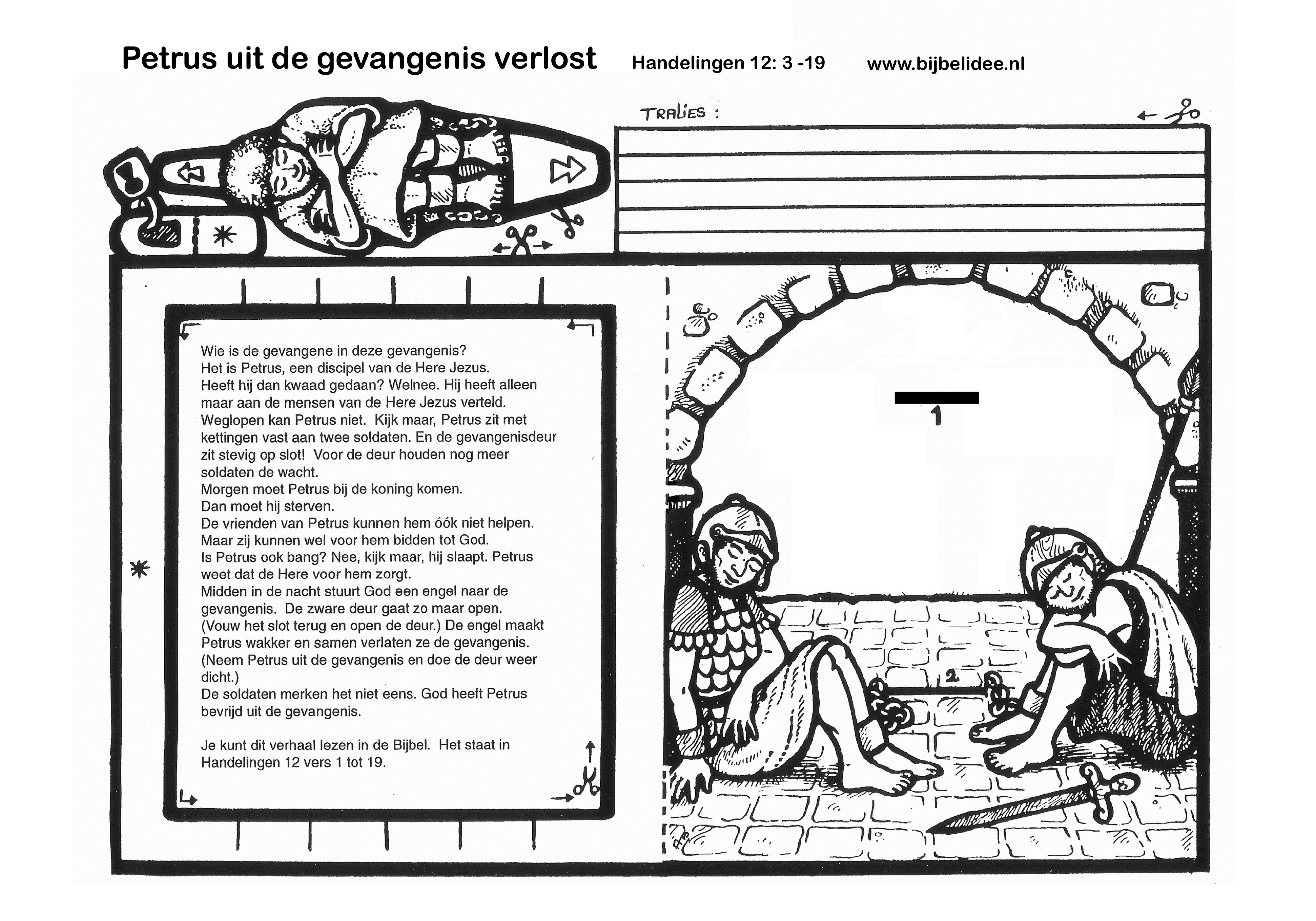 Petrus In De Gevangenis Hand 12 3 19 Www Bijbelidee Gevangenis Bijbel Werkjes
