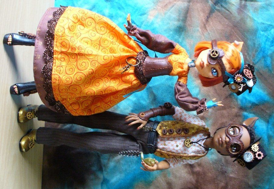 3bb153e6256 Monster High customs - Steampunk Toralei and Clawd by ...