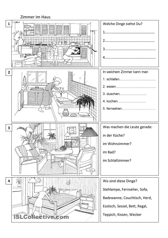 zimmer im haus deutsch h uschen und arbeitsbl tter. Black Bedroom Furniture Sets. Home Design Ideas