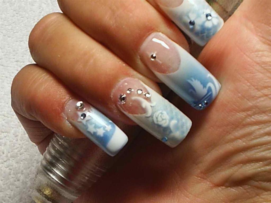 Airbrush Nail Art Designs Sky Blue Skybluenailarts Nails