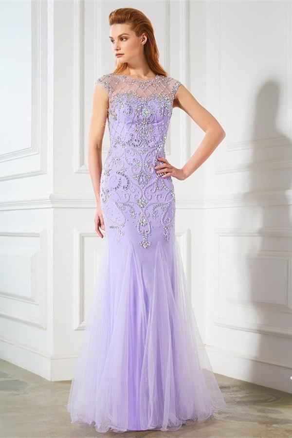Elegant Violet Long Floor Length Beading Tulle Sheath Prom Dresses Z0582
