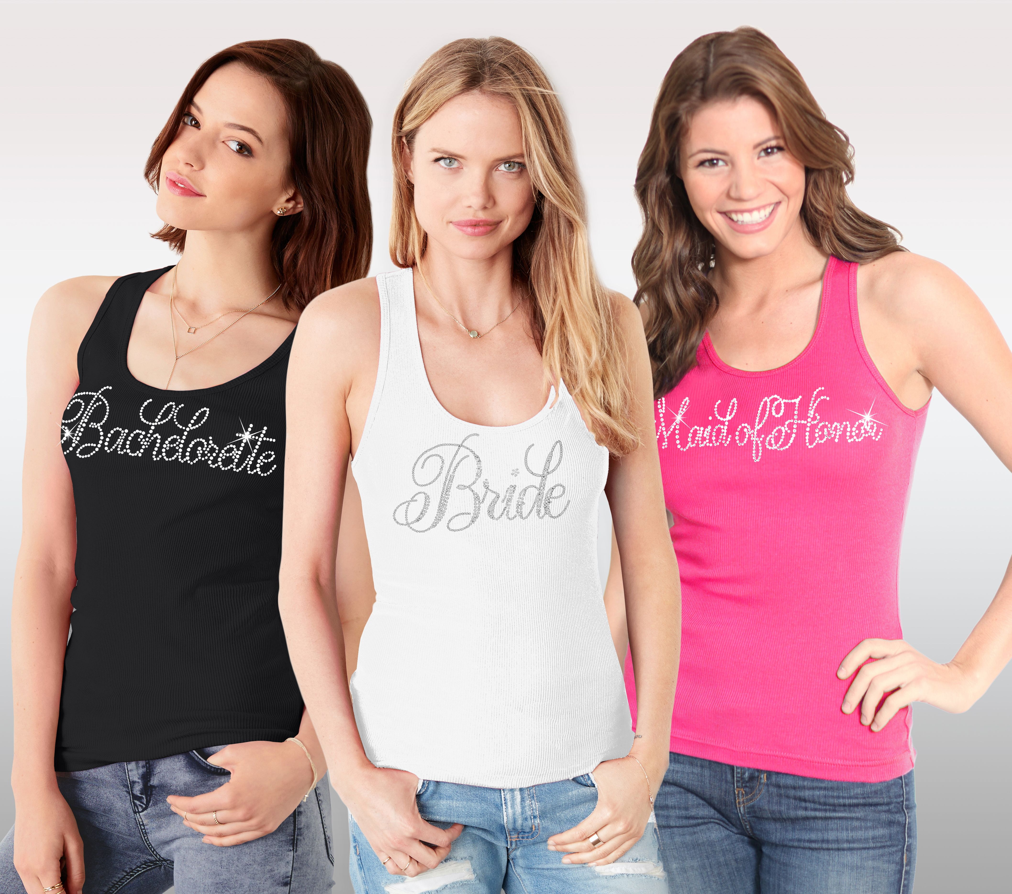 6130da5f2d66a Gorgeous Rhinestone Tank Tops for the entire Bridal Party! Available in  Black