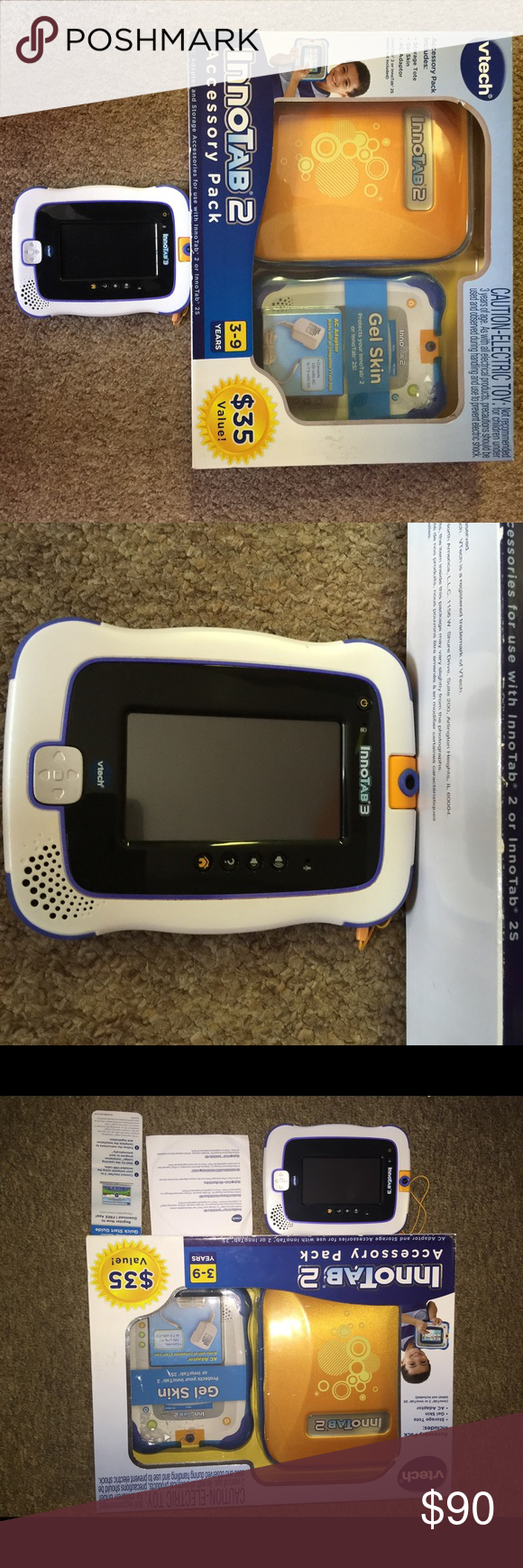 InnoTab 2 Vtec InnoTab 3 learning app tablet - New- Never Used (not in box/no box for Tablet)  Pop-up, Touchscreen keypad, microphone, photo/video camera, memory slot (card not included), rotating camera, hundreds of apps to download, comes with 1 cartridge. Bonus- case/charger/storage tote 35.00 value V tec Other