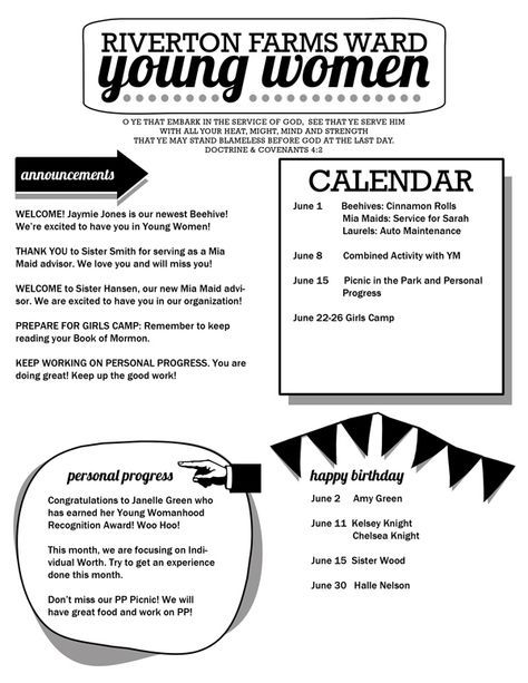 young women newsletter template free download editable pdf pta