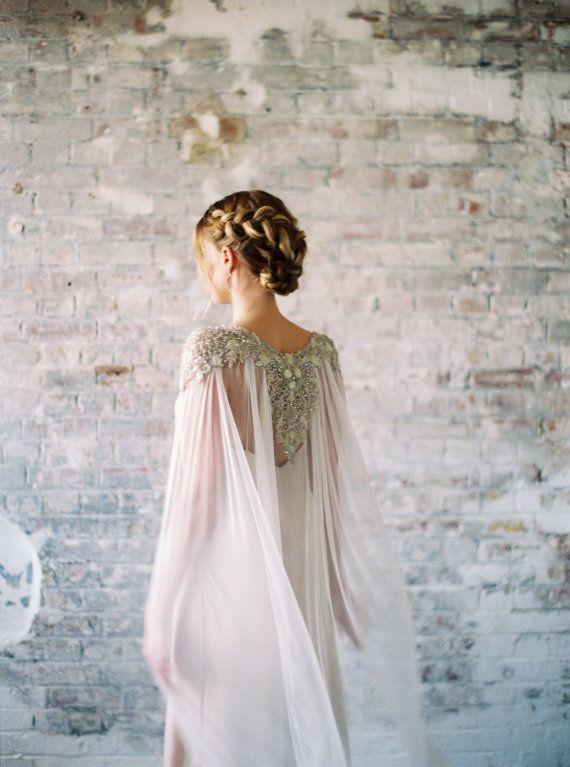 Lakshmi Crystal Beaded Bridal Silk Tulle Cape Veil Alternative