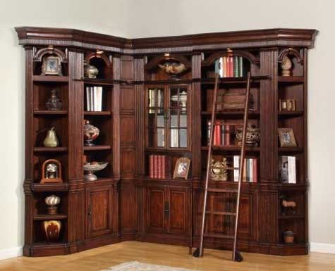Wellington 6 Piece Corner Bookcase Library Wall In Vintage Brown Mahogany Finish By Parker House Wel 420 6 Bookcase Wall Parker House Library Bookcase