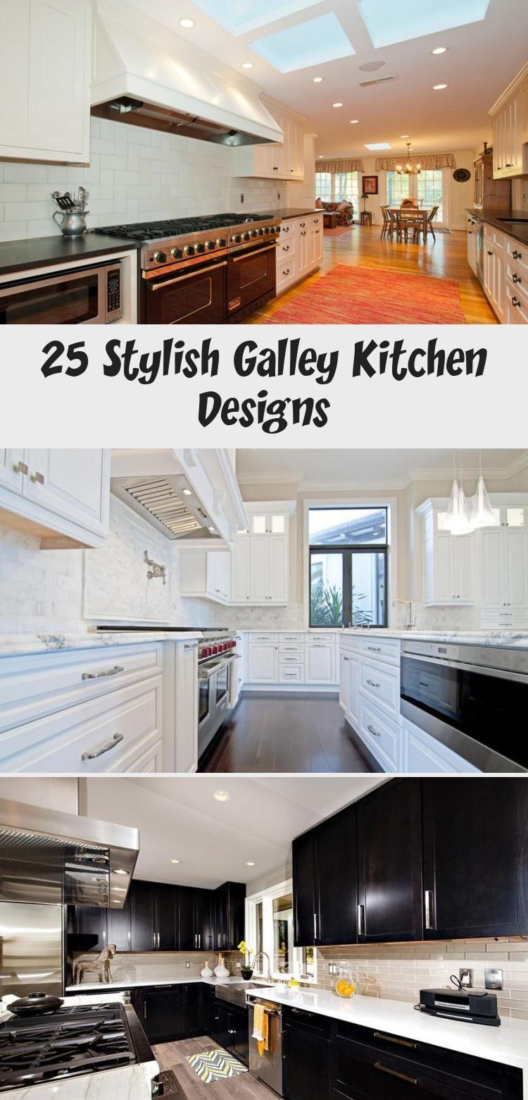 25 Stylish Galley Kitchen Designs #whitegalleykitchens Traditional galley kitchen with white cabinets backsplash #Widegalleykitchen #galleykitchenWithBar #galleykitchenDimensions #Ikeagalleykitchen #Moderngalleykitchen #galleykitchenlayouts