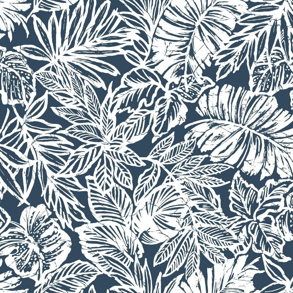 Roommates 28 18 Sq Ft Batik Tropical Leaf Peel And Stick Wallpaper Blue Peel And Stick Wallpaper Tropical Leaves Peelable Wallpaper