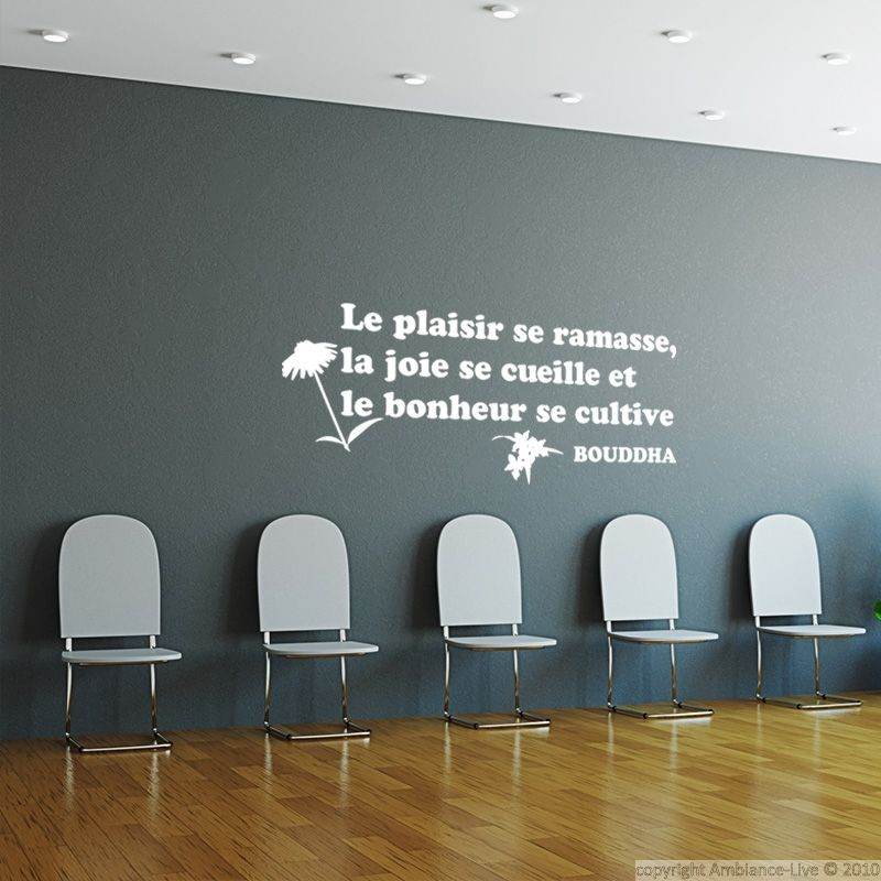 Sticker cuisine le plaisir se ramasse et le bonheur se cultive bouddha stickers citations for Autocollant mural texte