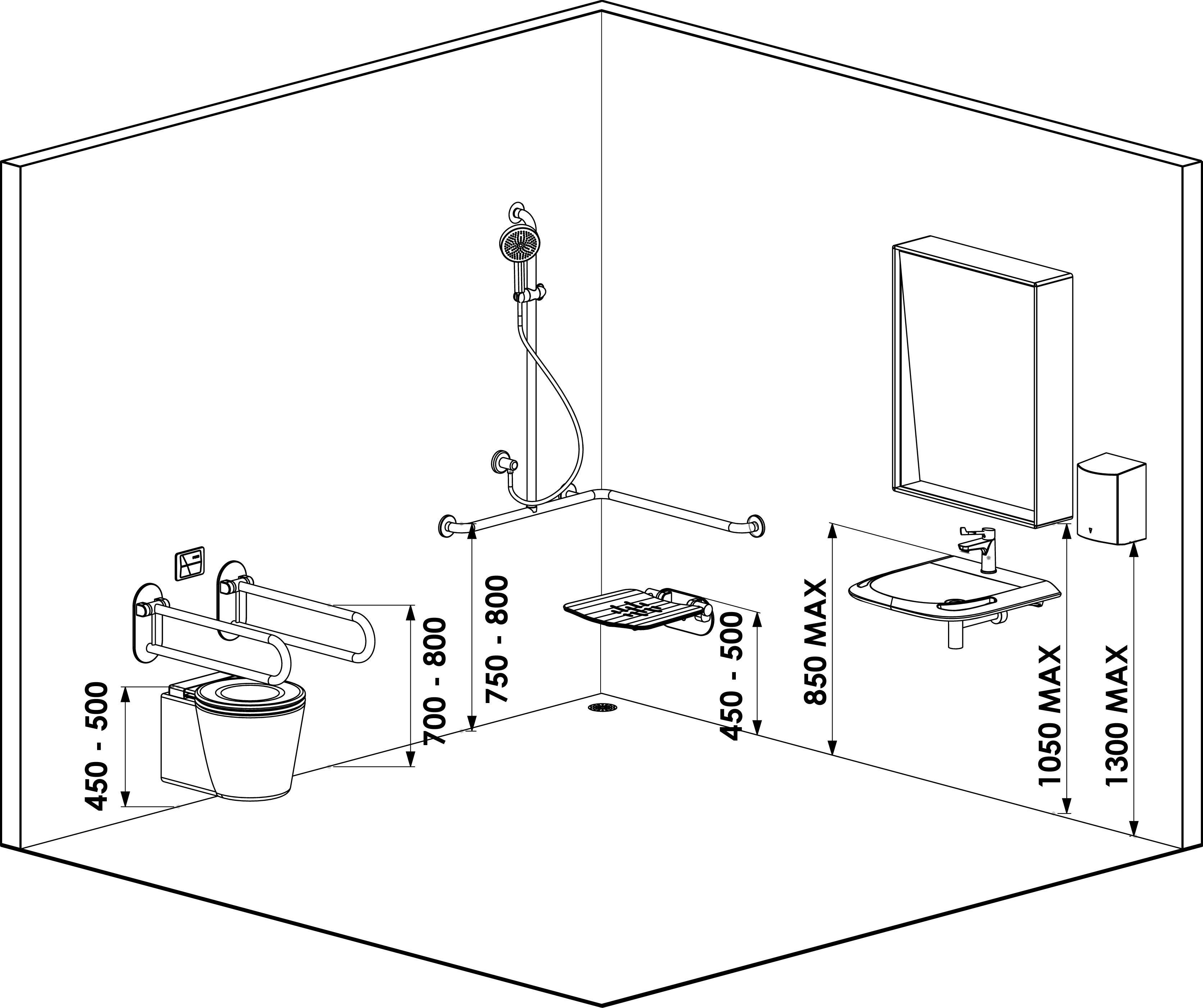 Rappel Normes PMR NF P 20-20  Disposition de petites salle de