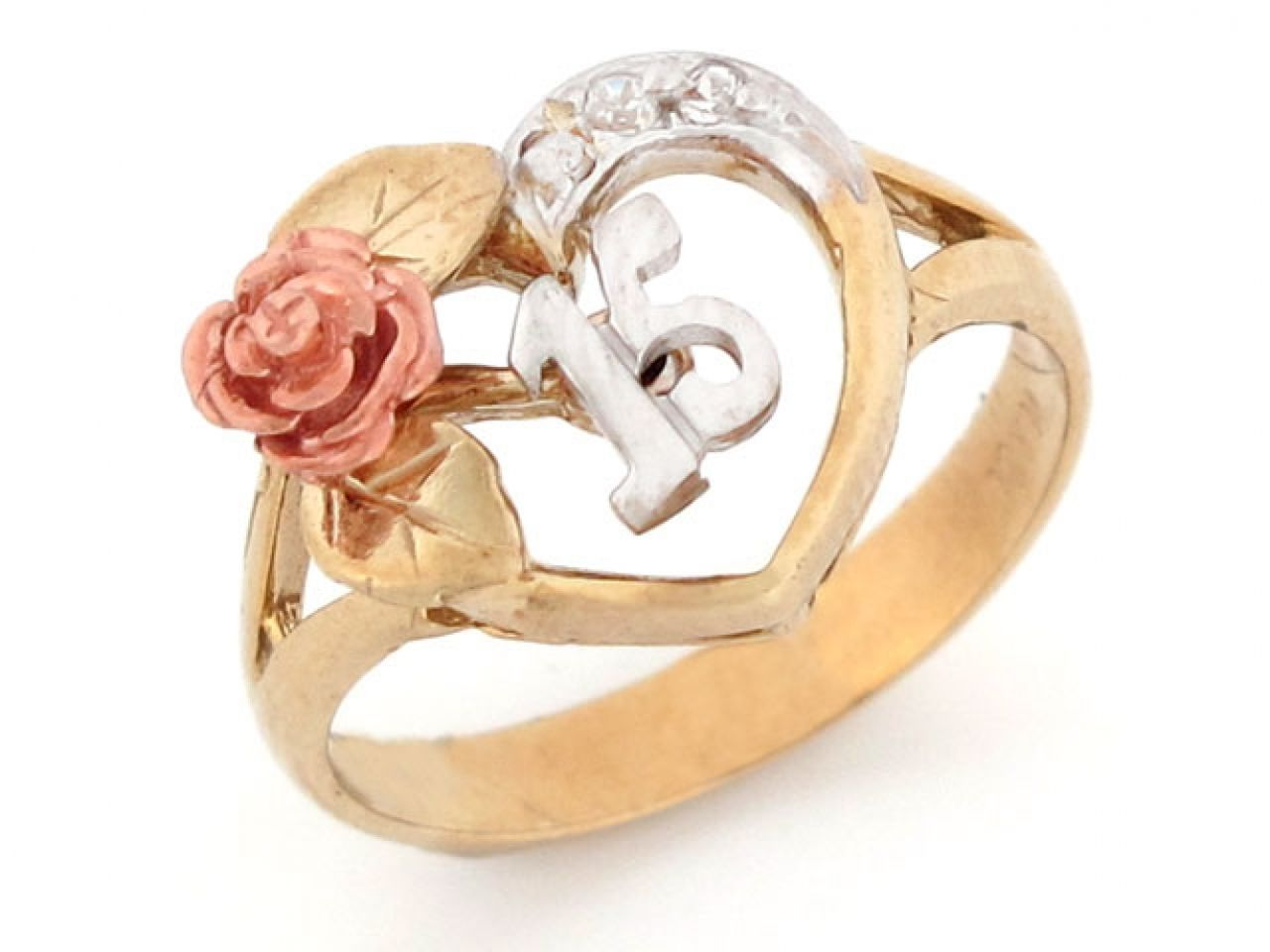 f136748bb3b1 Tri-color Gold 15 Anos Quinceanera Red Rose CZ Ring - Jewelry Liquidation