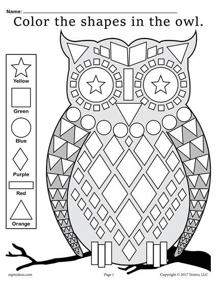 FREE Fall Themed Owl Shapes Worksheet & Coloring Page
