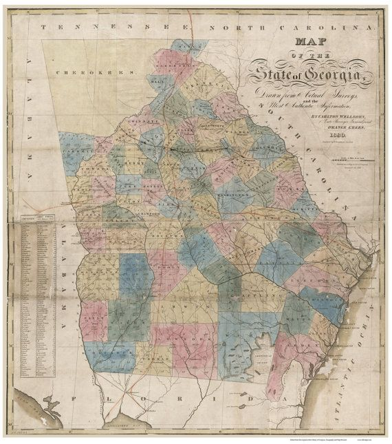Map Of Georgia 1830.Georgia 1830 Old Map Wellborn State Reprint Georgia Old Maps Map