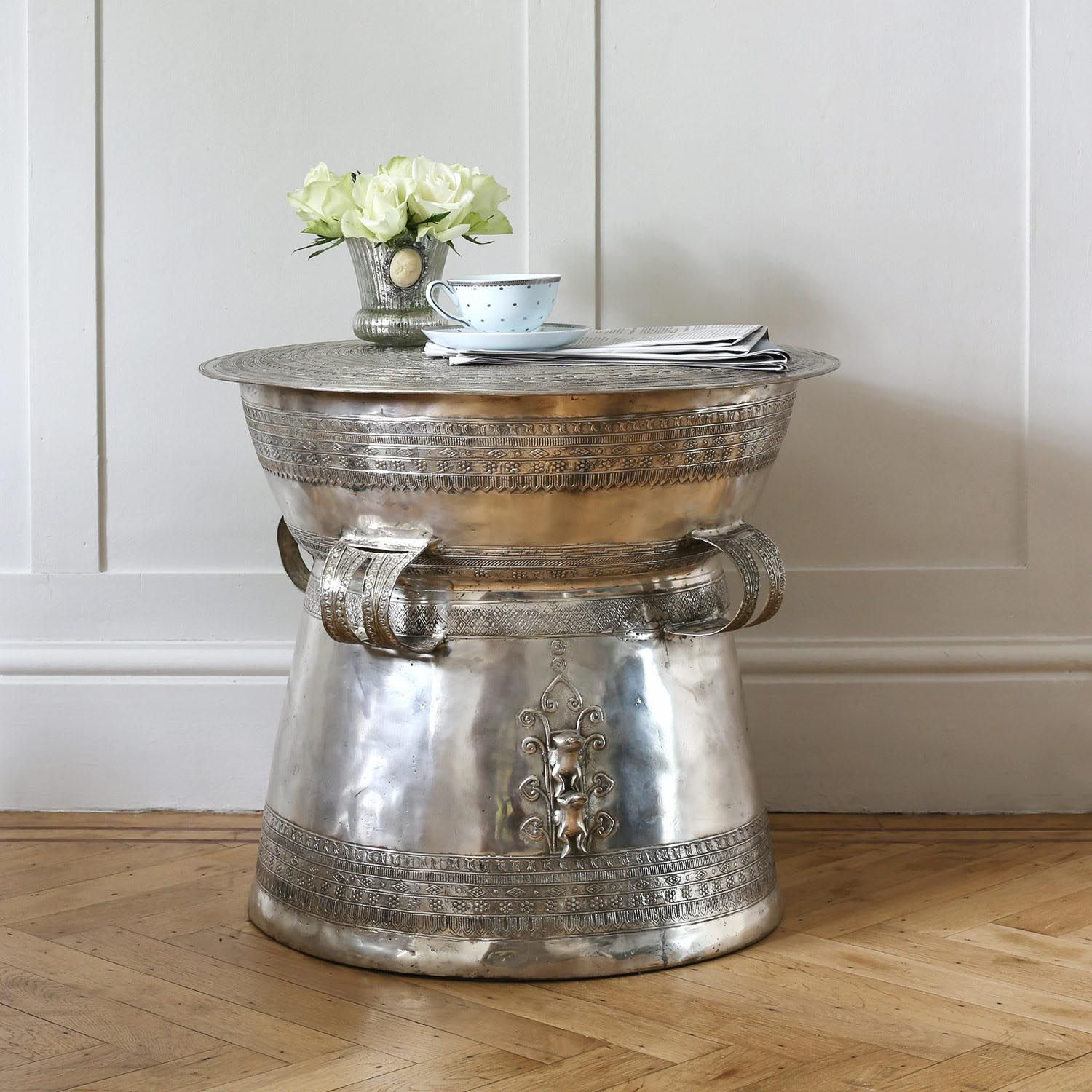 Superb Silver Drum Coffee Table