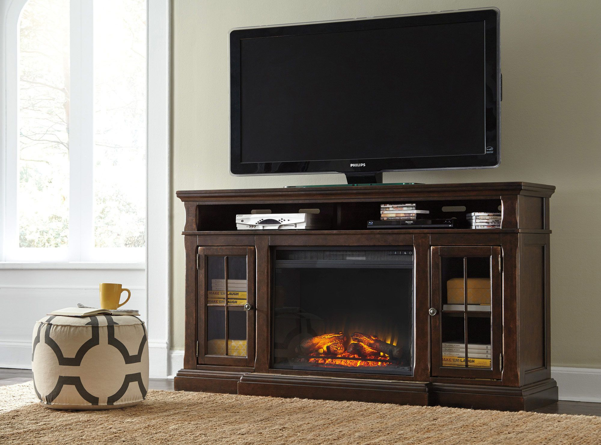Roddinton Extra Large Tv Stand W Fireplace Option By