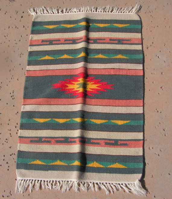 Vintage Mexican Zapotec Rug In Small Size With Stylized: Small Mexican Woven Rug Southwestern Blanket Rug Weaving