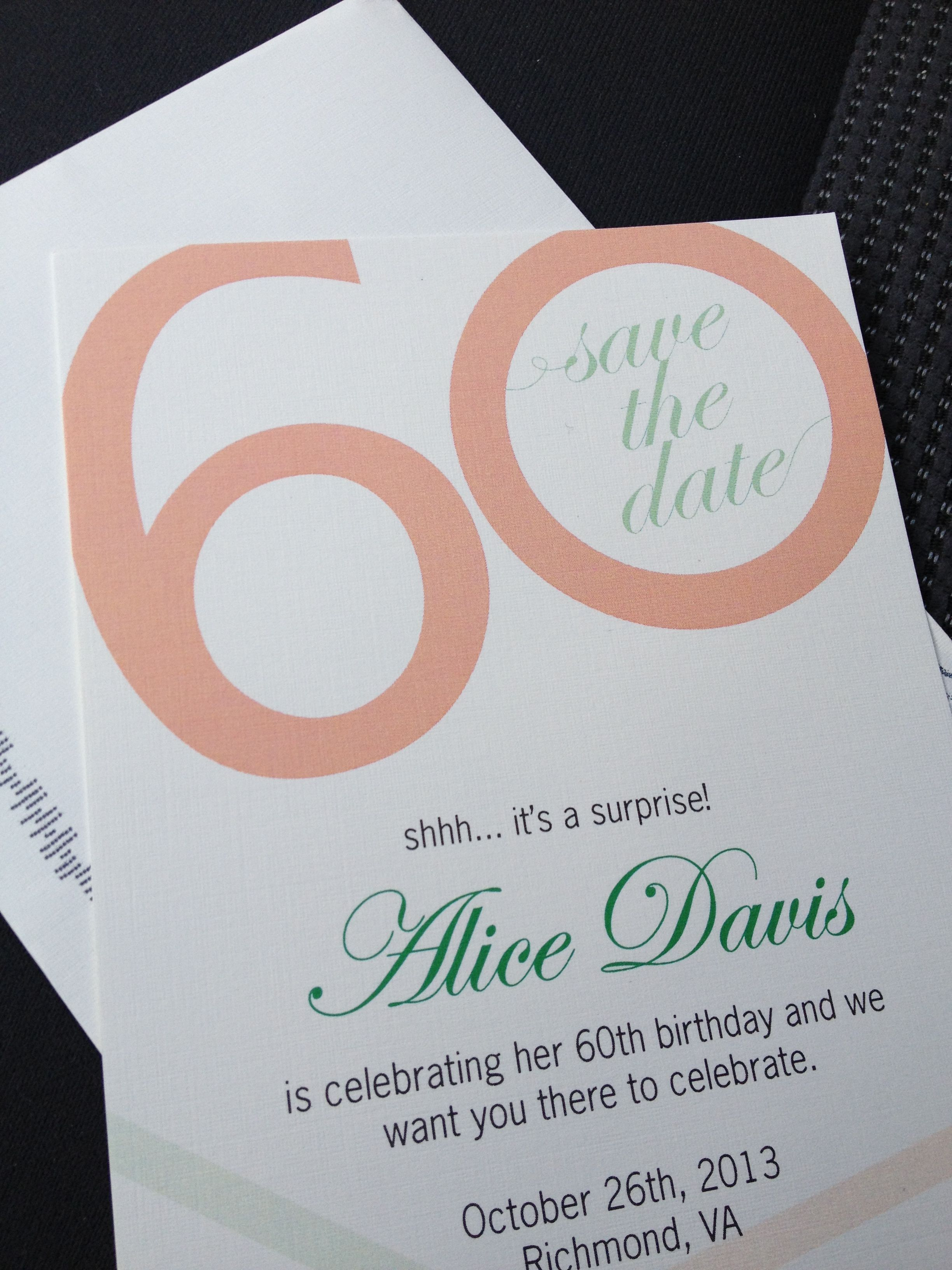 Custom 60th Birthday Party Save The Date