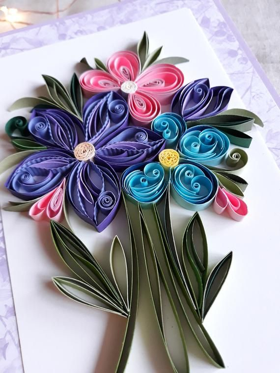 quilling greeting card with pink and blue and purple