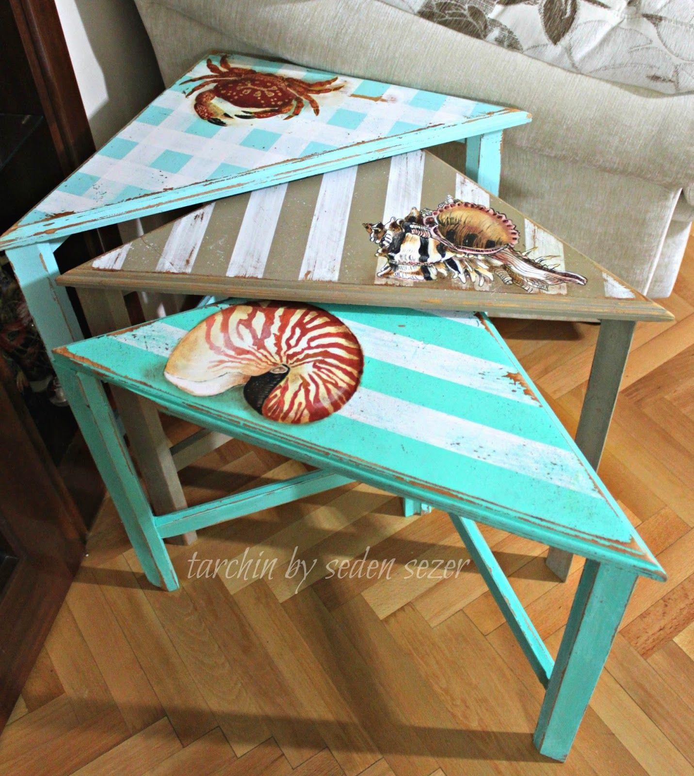 Before After Bir Yengec Iki Kabuk 3 Lu Sehpa Art Furniture Plaj Mobilyalari Dekor