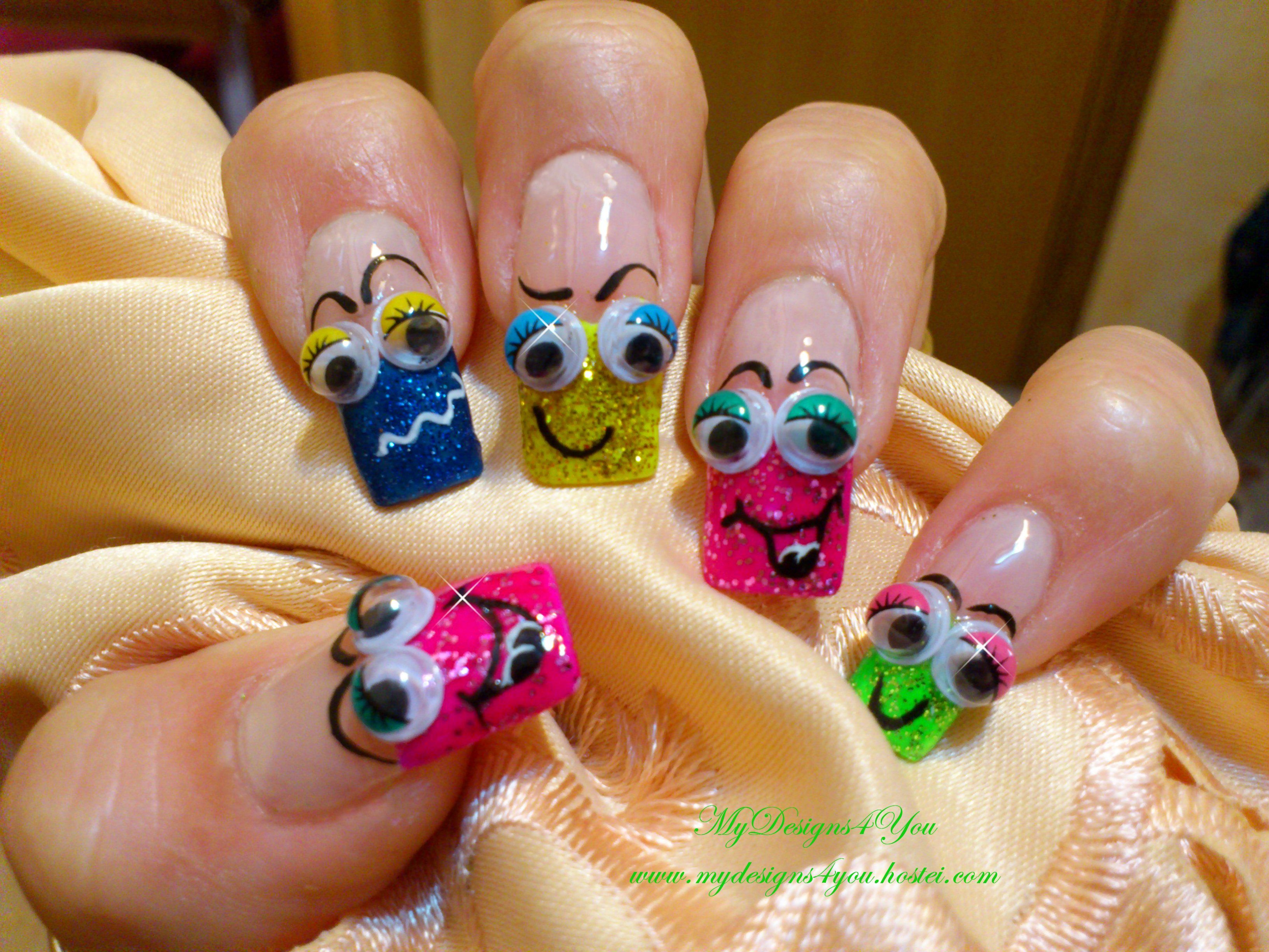 FAVE A FUN APRIL FOOL\'S DAY! 3D Smiley faces nail art design. www ...