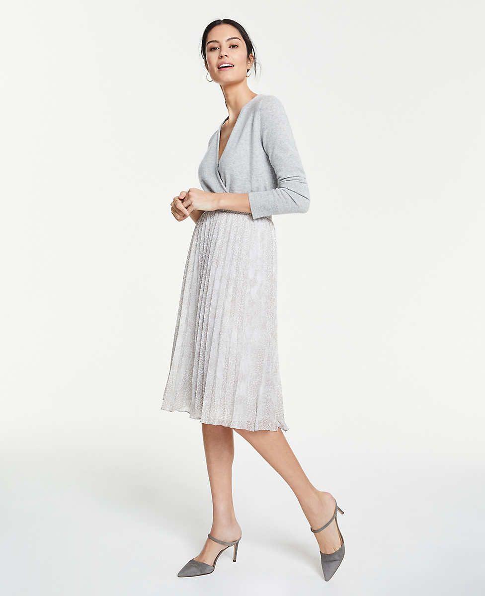 d27bc3617f Ann Taylor Petite Snakeskin Print Pleated Midi Skirt in 2019 ...