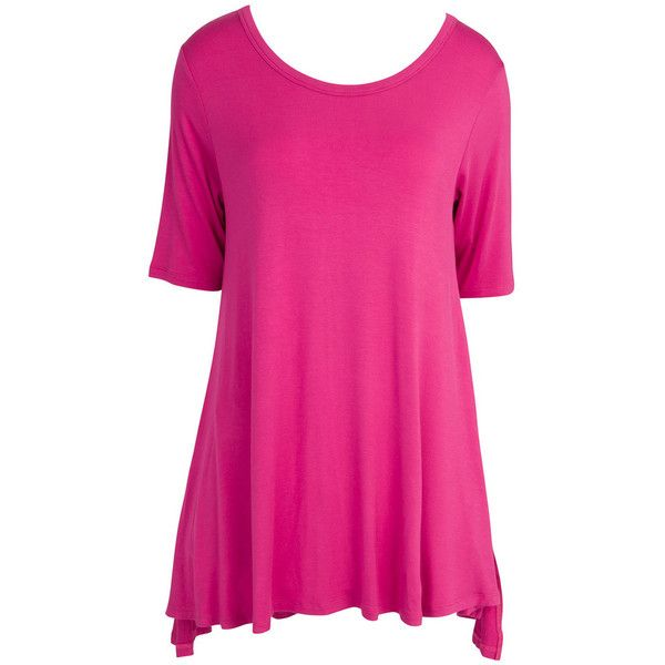 Mountain Mamas Women's Swing Tunic Pink - 2xl Shoes ($32) ❤ liked on Polyvore featuring tops, tunics, pink, rayon tunic, viscose tops, side slit tunic, pink tunic and side slit top