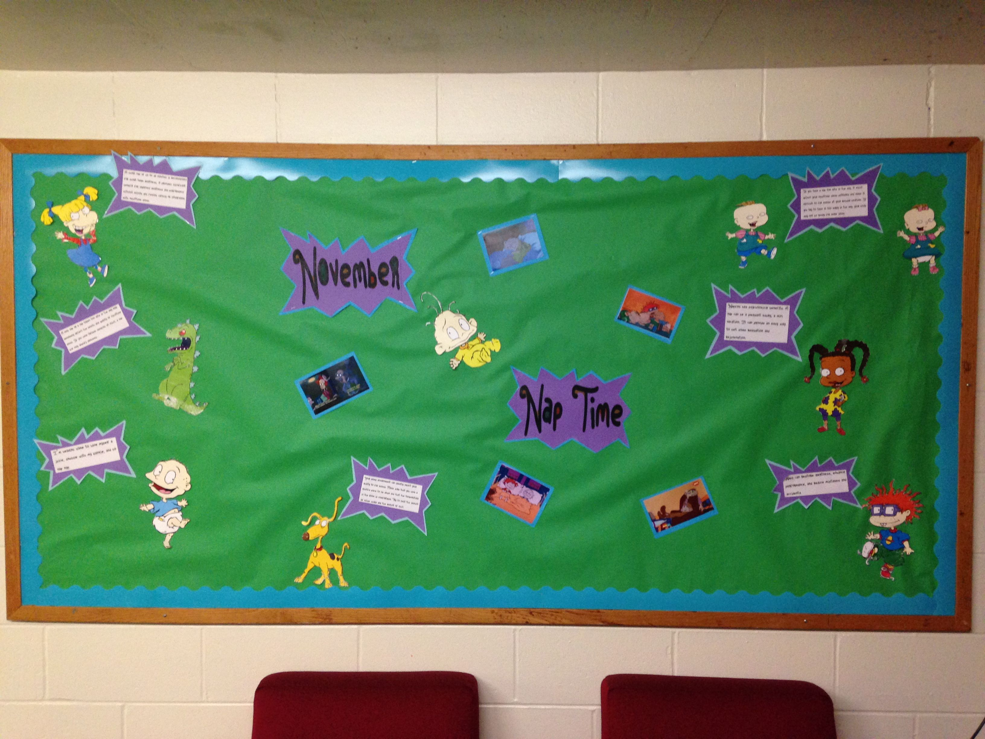 RA bulletin boards. Napping tips board. Rugrats theme