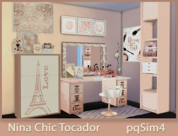 pqsims4: nina chic dressing table • sims 4 downloads | lifelong