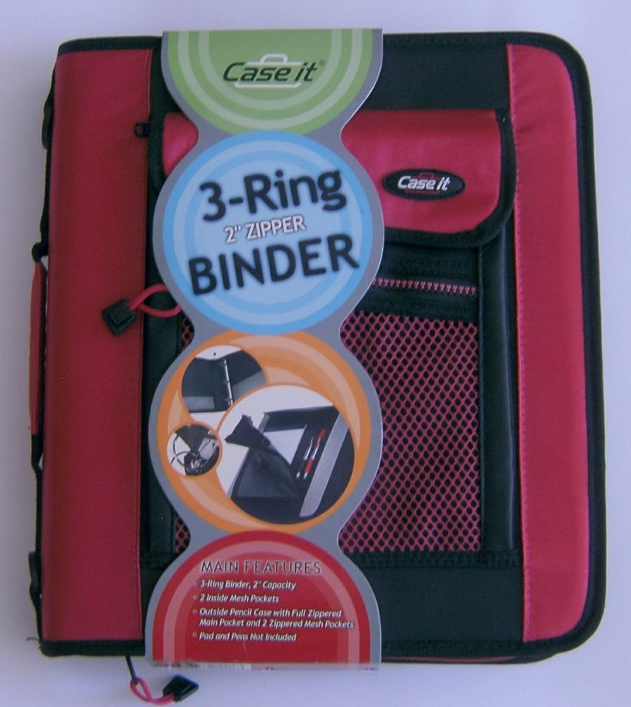 Case It 3 Ring Binder Pink Zippered 2 Inch Capacity Pencil