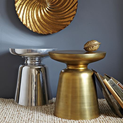 Martini Side Table  Metallics is part of Metal Home Accessories West Elm - A west elm icon and a best seller  Sleek and sculptural, this cast aluminum table is as cool and crisp as its namesake cocktail