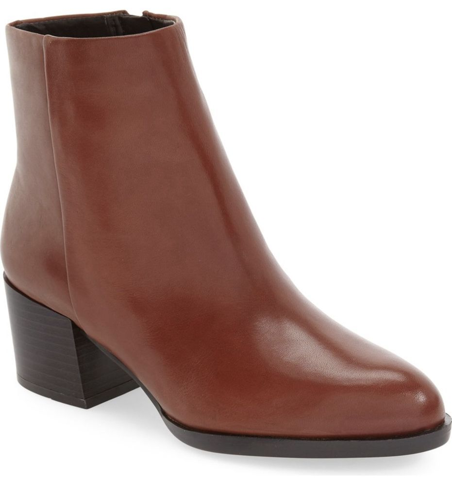 ff10234014ab0 SAM EDELMAN SALE Joey Bootie Ankle Boot Modena Calf Leather Stacked Heel  Brown 9