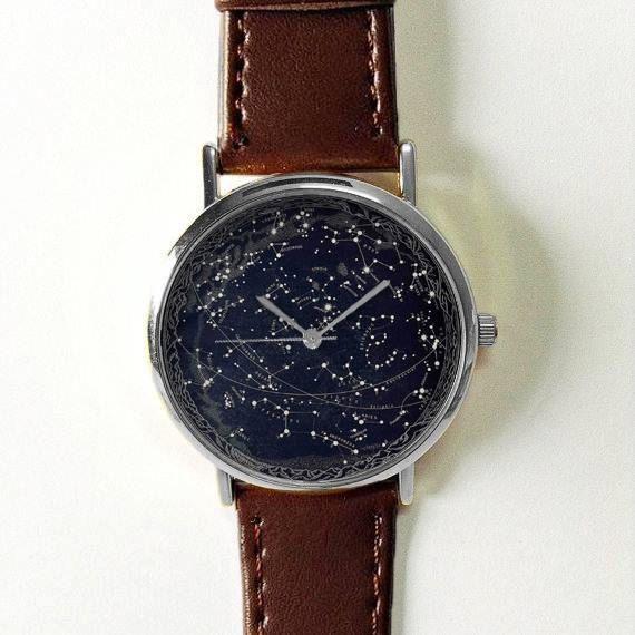 Celestial Map Watch, Men\'s Watch, Vintage Style Leather Watch, Women ...