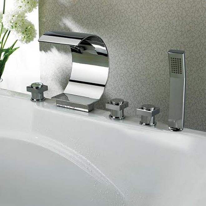 Kokols Modern Bathroom Chrome Waterfall (Blue) Tub Faucet and Hand Shower (MPF01)