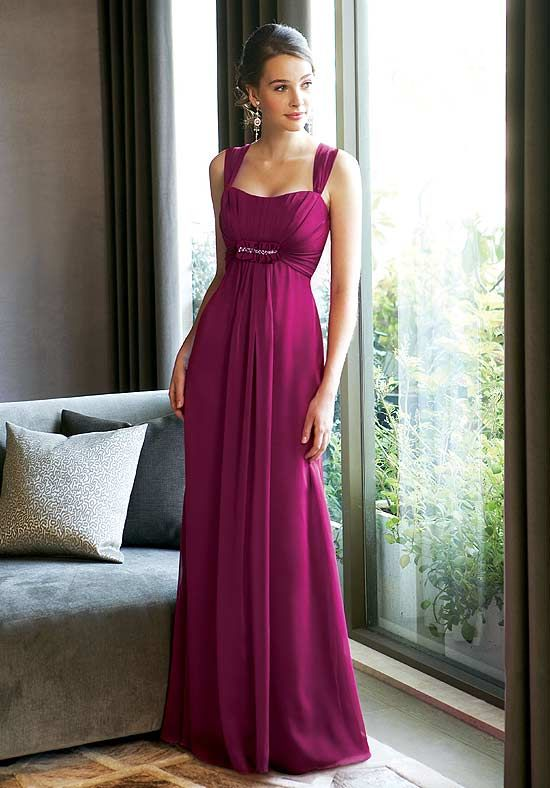 Refined Fushia Chiffon Beads Working Empire Waist Straps Bridesmaid Dress