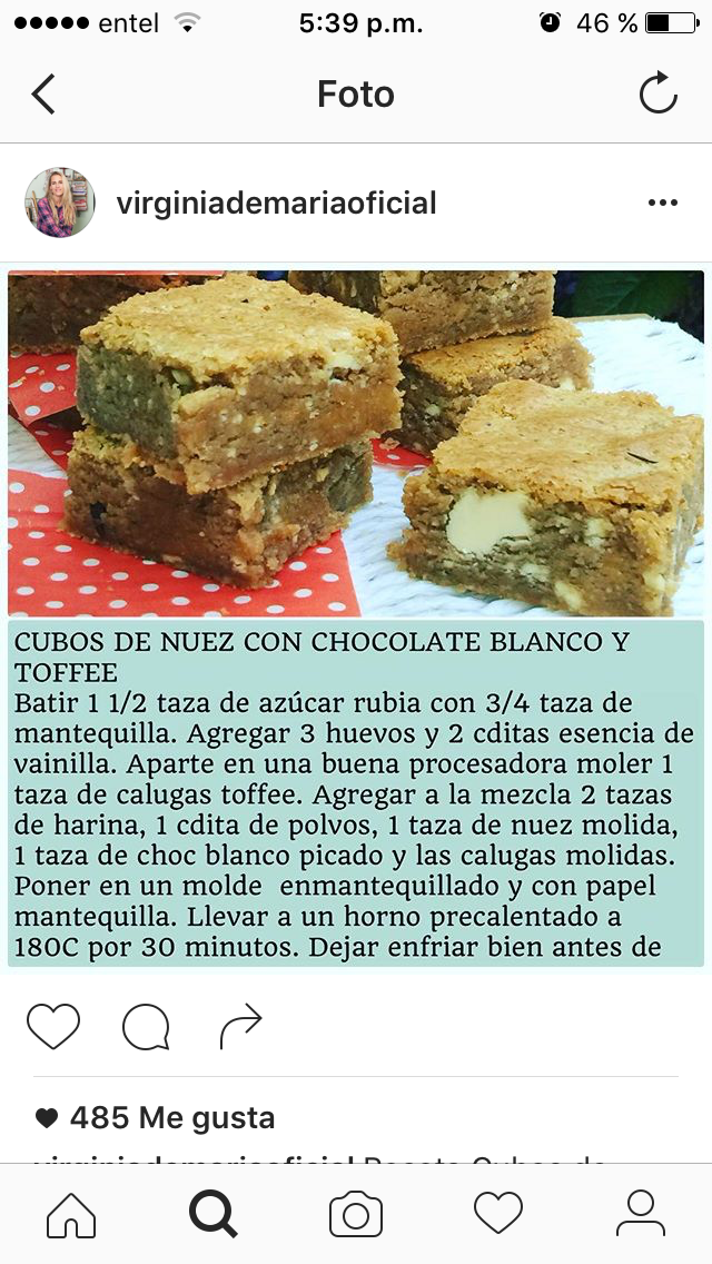 Cubos de nuez con chocolate blanco y toffee