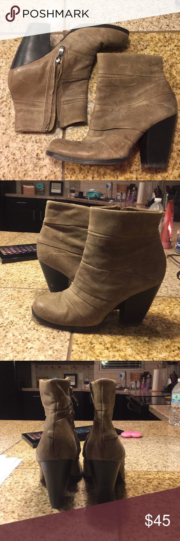 Vince Camuto Booties! Love these gray booties! They're the perfect height and SO comfy! Love the texture and they are leather. Lightly worn Vince Camuto Shoes Ankle Boots & Booties