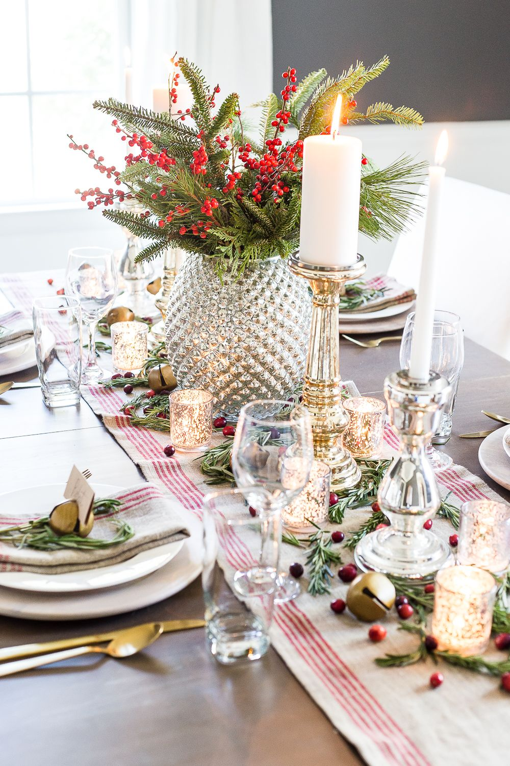 Mercury Glass Christmas Tablescape How to set up a vintage glam mercury glass Christmas tablescape with tips and sources for how to do it on a budget.