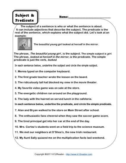 Subject and Predicate Worksheets | Parts of Speech- Subject ...