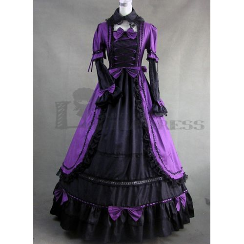 Buy Long Sleeves Bowknot Ruffles Ball Gown Black and Purple Gothic ...