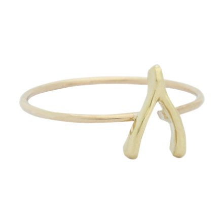Jennifer Meyer Gold Mini Wishbone Ring at Barneys.com-$250
