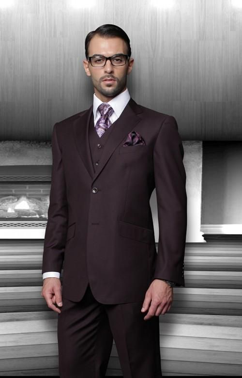 Dark purple wedding suits for men notched lapel grooms tuxedos ...